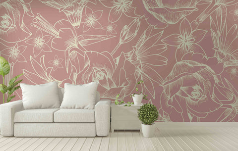 3D pink flowers wall mural wallpaper 21