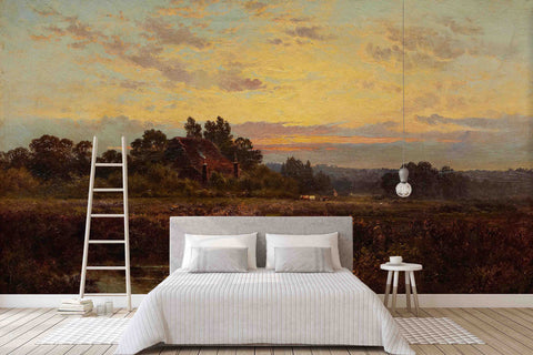 3D Twilight Garden Oil Painting Wall Mural Wallpaper 42