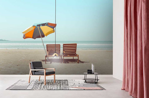 3D Blue Sky Beach Chair Wall Mural Wallpaper  39