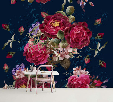 3D Vintage Red Flowers Wall Mural Wallpaper A094 LQH