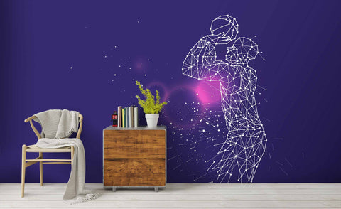 3D Basketball Player Purple Wall Mural Wallpaper 5