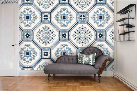 3D Blue White Tile Wall Mural Wallpaper 42