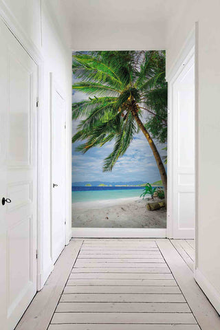 3D blue sky sea coconut tree wall mural wallpaper 29