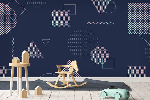 3D Geometric Wavy Circle Square Triangle Wall Mural Wallpaper 75
