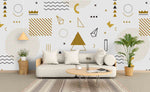 3D Golden Geometry Pattern Wall Mural Wallpaper 63