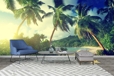 3D Coconut Trees Sea Wall Mural Wallpaper 61