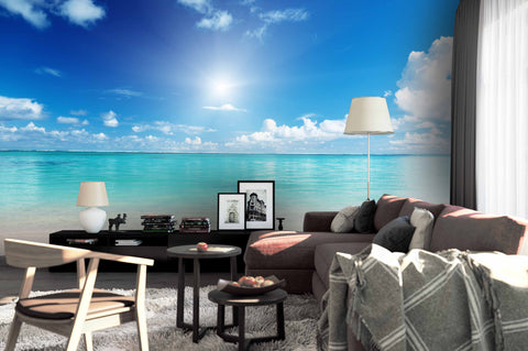 3D Blue sky White Clouds Sea Wall Mural Wallpaper 1