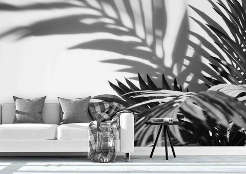 3D black white tropical plant leaves wall mural wallpaper 32