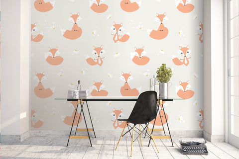 3D Stick Figure Orange Foxes Wall Mural Wallpaper 58