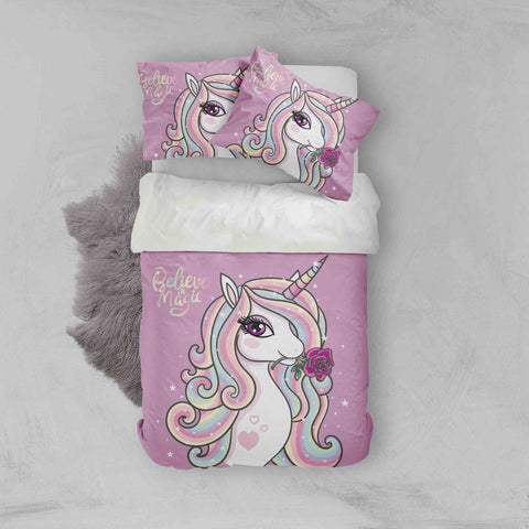 3D Purple Unicorn Quilt Cover Set Bedding Set Pillowcases 98