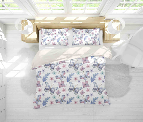 3D White Butterfly Floral Leaves Quilt Cover Set Bedding Set Pillowcases 67