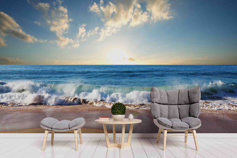 3D Blue Sea Seaside Sunset Beach Wave Wall Mural Wallpaper ZY D42