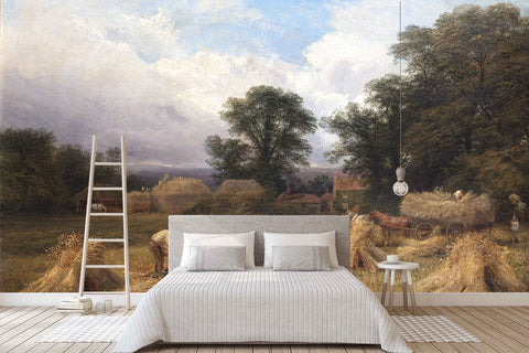 3D pastoral harvest oil painting wall mural wallpaper 58
