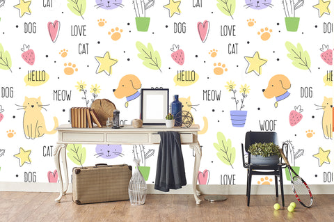 3D Stick Figure Dog Plants Wall Mural Wallpaper 61