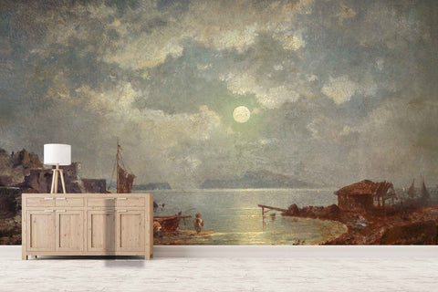 3D seaside moonlight oil painting wall mural wallpaper 78