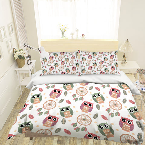 3D Cartoon Owl Leaves Green Quilt Cover Set Bedding Set Pillowcases 72