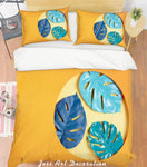 3D Watercolor Green Palm Leaves Quilt Cover Set Bedding Set Pillowcases 24