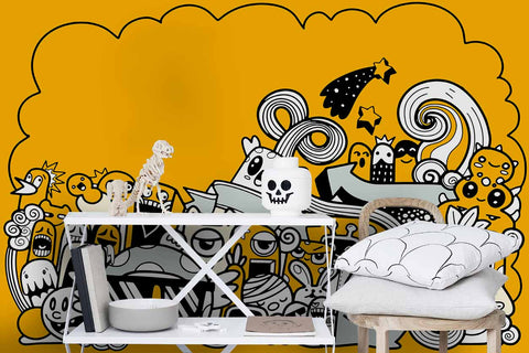 3D Cartoon Graffiti Yellow Wall Mural Wallpaper 51