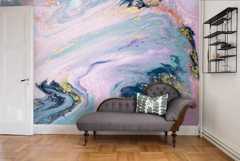 3D Abstract Pink Gilding Marbling Wall Mural Wallpaper 31 - Jessartdecoration