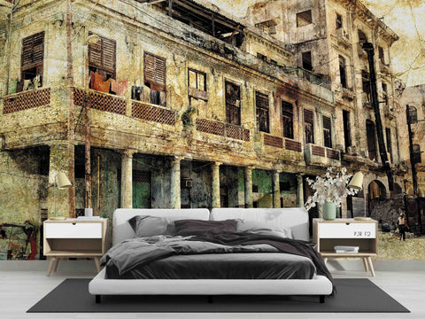 3D Old House Oil Painting Mural Wallpaper WJ 1346
