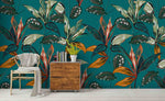 3D Green Tropical Plants Leaves Wall Mural Wallpaper SF63