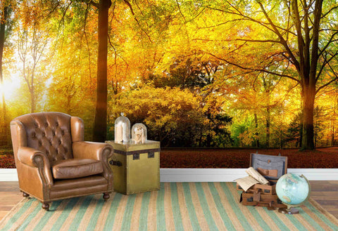 3D Golden Leaves Jungle Wall Mural Wallpaper 51