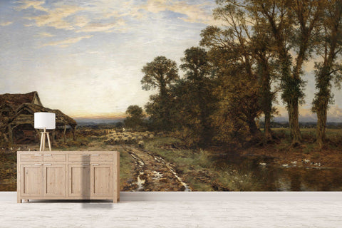 3D countryside scenery oil painting wall mural wallpaper 29