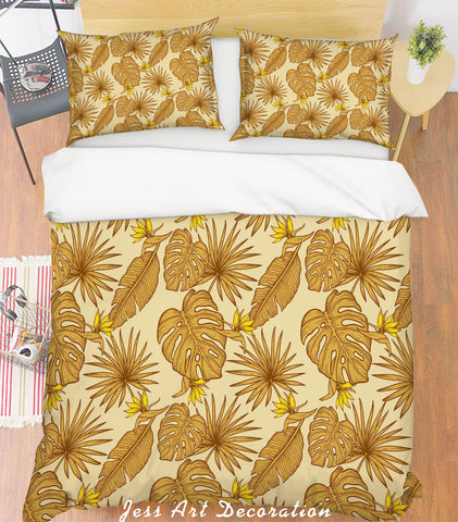 3D Brown Leaves Quilt Cover Set Bedding Set Pillowcases 113