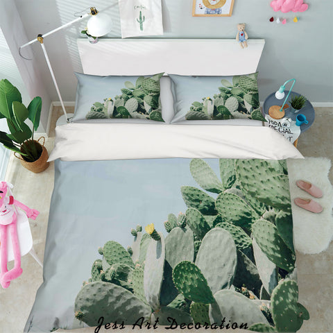 3D Green Cactus Leaves Quilt Cover Set Bedding Set Pillowcases 99