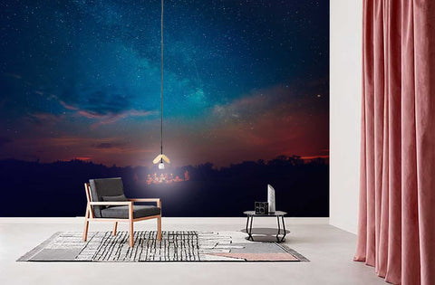 3D Night View Starry Sky Wall Mural Wallpaper 30