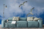3D blue sky seagull wall mural wallpaper 40