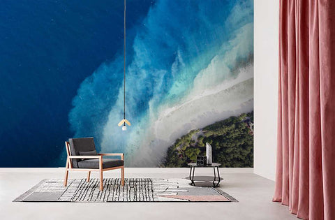 3D Deep Blue Sea Waves Wall Mural Wallpaper  32