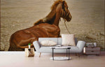 3D Realistic Oil Painting Grassland Horse Animal Wall Mural Wallpaper LXL 1661