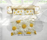 3D White Daisy Floral Quilt Cover Set Bedding Set Pillowcases 76
