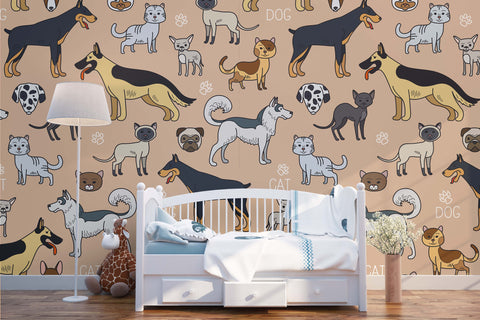 3D Different Types Dogs Wall Mural Wallpaper 23