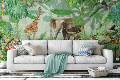 3D Elephant Giraffe Jungle Wall Mural Wallpaper 07