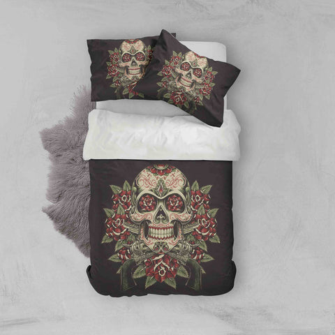 3D Skull Flower Quilt Cover Set Bedding Set Pillowcases 85