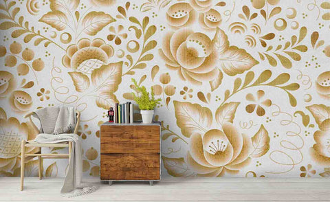 3D Floral Leaves Wall Mural Wallpaper SF157