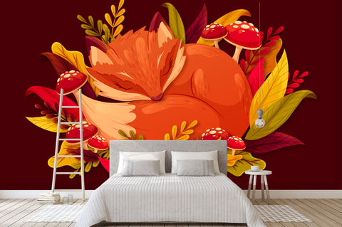 3D Orange Fox Red Mushroom Wall Mural Wallpaper 51