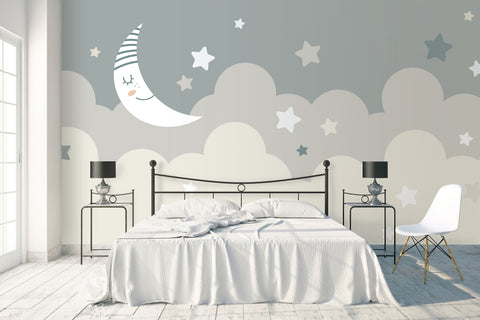 3D cartoon moon night clouds wall mural wallpaper 68