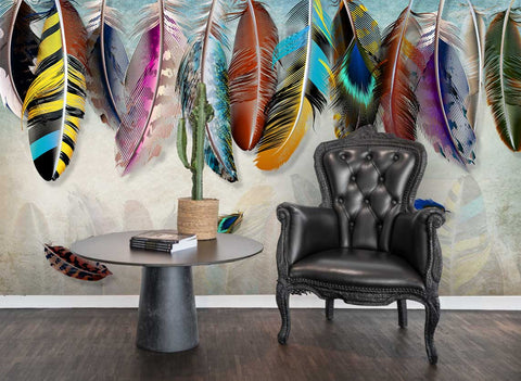 3D Modern Colorful Feather Wall Mural Wallpaper 60 - Jessartdecoration