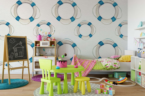 3D White Swimming Circle Wall Mural Wallpaper 85
