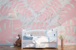3D Pink Palm Leaves Marble Background Wall Mural Wallpaper 47