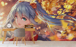 3D Cartoon Girl Ginkgo Biloba Wall Mural Wallpaper WJ 2010
