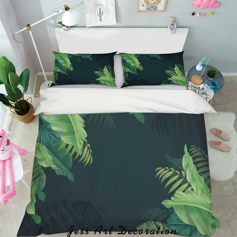 3D Tropical Green Leaves Quilt Cover Set Bedding Set Pillowcases 93