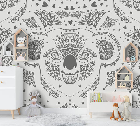 3D Cartoon Grey Elephant Wall Mural Wallpaper A183 LQH