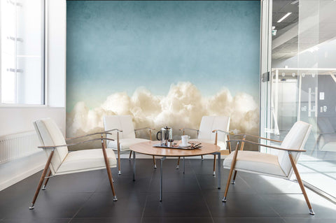 3D White Clouds Wall Mural Wallpaper 04