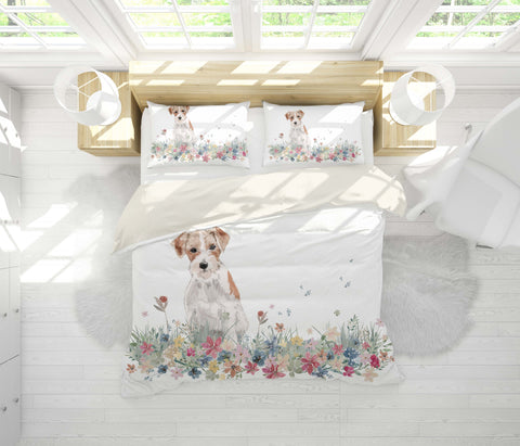 3D Dog Floral Quilt Cover Set Bedding Set Pillowcases 13