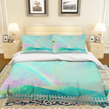 3D Green Watercolor Hill Rainbow Fence Quilt Cover Set Bedding Set Pillowcases 67
