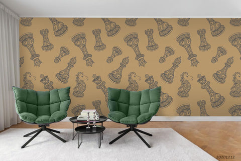 3D Vintage Chess Pieces Pattern Wall Mural Wallpaper LXL